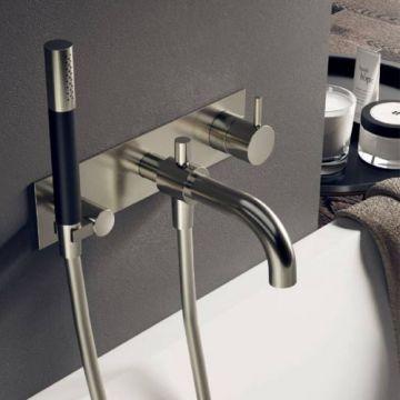 Hotbath Cobber afbouwdeel inbouw douche-/badmengkraan met automatische omstelinrichting, doucheslang en handdouche, mat wit