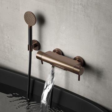 Hotbath Buddy thermostatische badmengkraan met cascade-uitloop, geborsteld messing