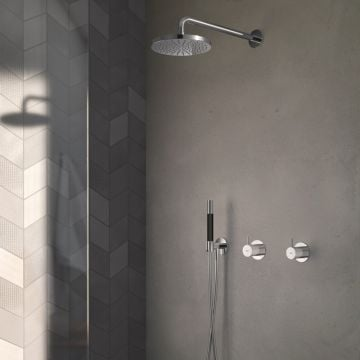 Hotbath Cobber complete douche-inbouwset met inbouw douchemengkraan en 2-weg-omstel, geborsteld nikkel