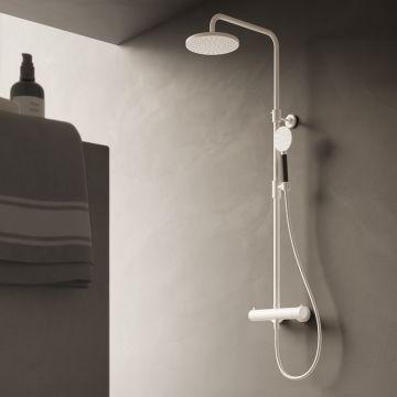 Hotbath Cobber complete thermostatische regendoucheset met glijstang, hoofddouche en handdouche, chroom