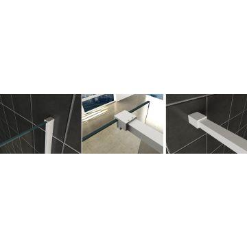 Wiesbaden Slim profielset met stabilisatiestang 120 cm, mat wit