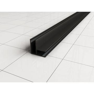 Wiesbaden Comfort hoekprofiel t.b.v. 1 cm glaswand 200 cm, mat zwart
