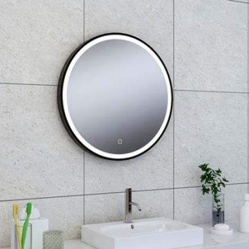 Wiesbaden Maro spiegel rond ø 60 cm met LED verlichting en spiegelverwarming, matzwart