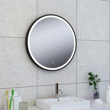 Sub Maro spiegel met LED verlichting 80 cm, mat zwart