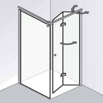 HSK Atelier Plan draaivouwdeur, voor in nis, 1000x200cm, montagezijde rechts, voor zijwand, chroom