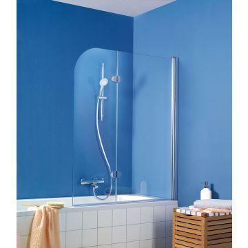 HSK Exklusiv badwand 2-delig montagezijde rechts 114x140cm, chroom