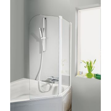 HSK Favorit badwand 3-delig veiligheidsglas 125x140cm, alu zilver-mat