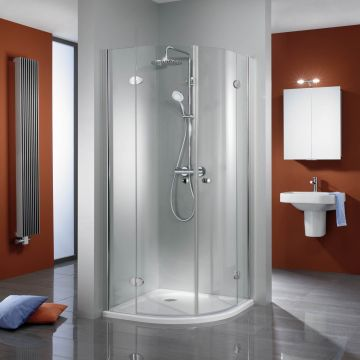 HSK Premium Classic kwartronde douchecabine 4-delig Edelglas 90x90x200cm, chroom
