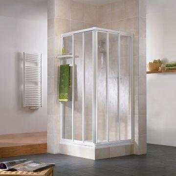 HSK Favorit hoekinstap 3-delig kunststofglas 75-90x185cm, wit