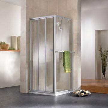 HSK Favorit schuifdeur voor in nis Edelglas 3-delig 90x185cm, alu zilver-mat