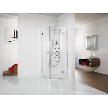HSK Premium Softcube kwartronde douchecabine 4-delig veiligheidsglas 100x100x200cm, chroom