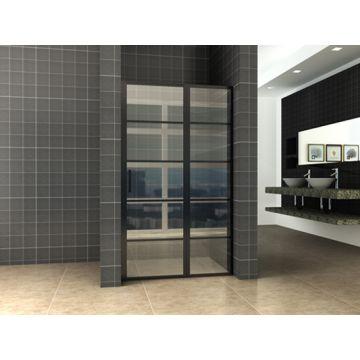 Wiesbaden Horizon nisdeur met vast paneel mat zwart 130 cm, 8 mm NANO-glas