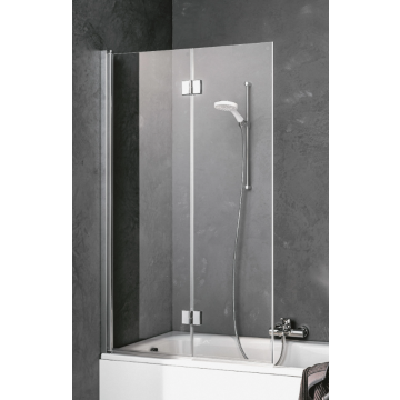 Kermi Liga badklapwand 2delig links 100x150, zilver glans-helder glas