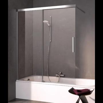 Kermi Nica schuifdeur voor bad rechts 100x150, zilver glans-helder glas