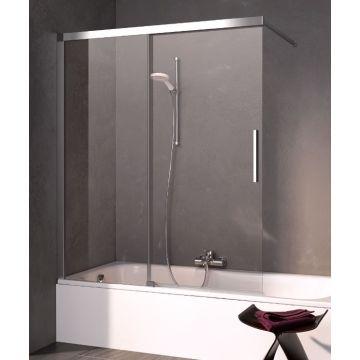 Kermi Nica schuifdeur voor bad links 120x150, zilver glans-helder glas