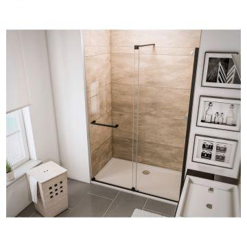 HSK Aperto schuifdeur voor nis montagezijde rechts 120 x 200 cm, ESG helder glas met Edelglas, zwart-mat