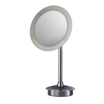 HSK make-up spiegel rond staand model, batterijvoeding, chroom