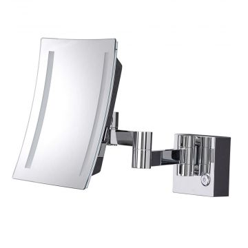 HSK make-up spiegel vierkant wandmodel, voor netaansluiting, chroom
