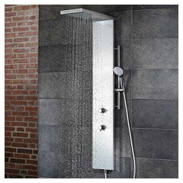 HSK Lavida plus douchepaneel verkort met vrijhangende regentraverse en waterval, RVS-zwart glas