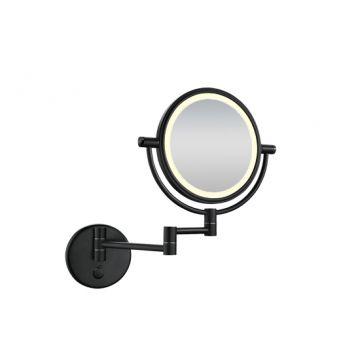 Wiesbaden Home wand scheerspiegel met LED-verlichting 20 cm, mat-zwart