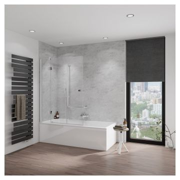 HSK Aperto badwand, pendelbaar, 2-delig, Edelglas, montagezijde links, 114x150 centimeter