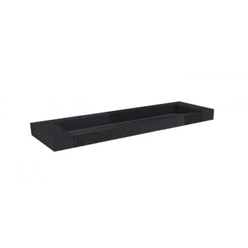 Sub 16 meubelwastafel met 2 kraangaten 140 x 45 cm, quartz zwart