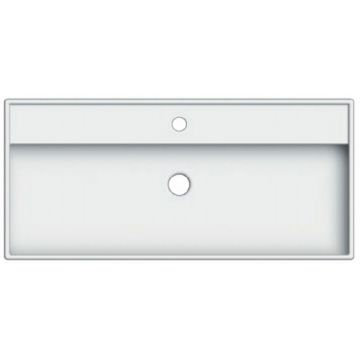 Sub 169 wastafel 100x46 cm met 1 kraangat met overloop wit, wit
