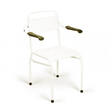 Linido Linido douchestoel zithoogte 54 cm met opklapbare armleggers, wit LI2139000102