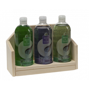 Warm & Tender display saunageur Euca-Lavendel-Dennen 3x500 ml