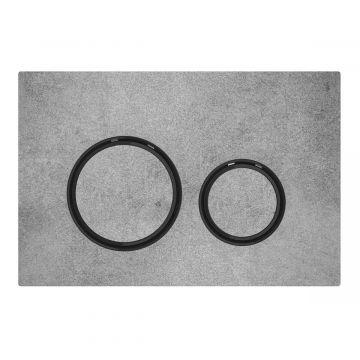 Geberit Sigma21 bedieningspaneel 2-knops, plaat betonlook, knoppen betonlook, randen zwart-chroom