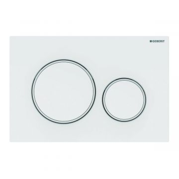 Geberit Sigma20 bedieningspaneel 2-knops, plaat wit, knoppen wit, randen matwit