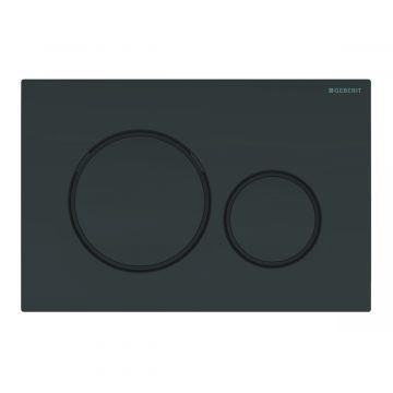 Geberit Sigma20 bedieningspaneel 2-knops, plaat glans zwart, knoppen glans zwart, randen matzwart