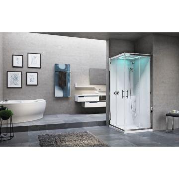 Novellini Eon A stoomcabine met hydromassage en chromolight 90 x 90 cm met wit paneel en chroom profiel, helder glas