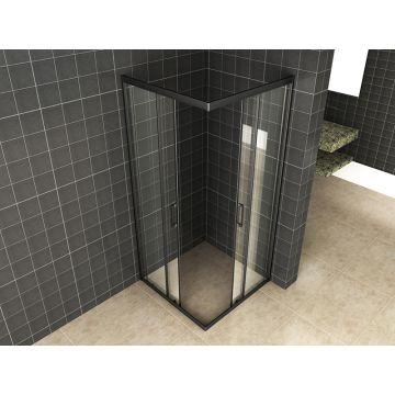 Wiesbaden Skyline hoekinstap met 2 schuifdeuren 80x80x200 cm, 8 mm Nano-glas, mat zwart