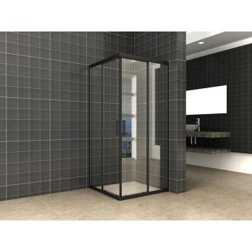Wiesbaden Skyline hoekinstap met 2 schuifdeuren 100x100x200 cm, 8 mm Nano-glas, mat zwart