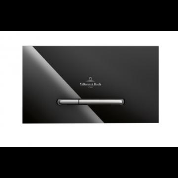 Villeroy & Boch Viconnect bedieningsplaat M300 DF frontbediend 25.3x14.5cm glas zwart/RVS