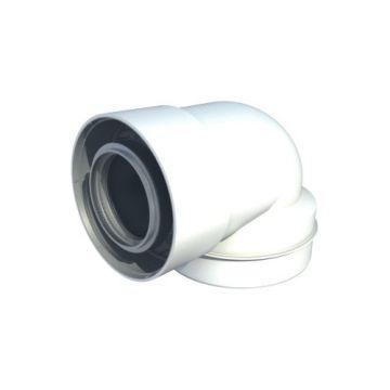 Ubbink UbiFit rookgasafvoer-, luchttoevoerbocht 60/100-80/125mm 87° verlopend concentrisch wit