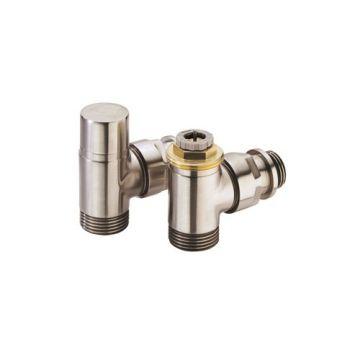 "Comap Sar designset thermostaatkraan RVS inox + voetventiel haaks M30 1/2""x3/4"" inox"