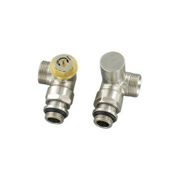 """Comap Sar designset thermostaatkraan RVS inox + voetventiel dubbel haaks M30 1/2""""x3/4"""" inox"""