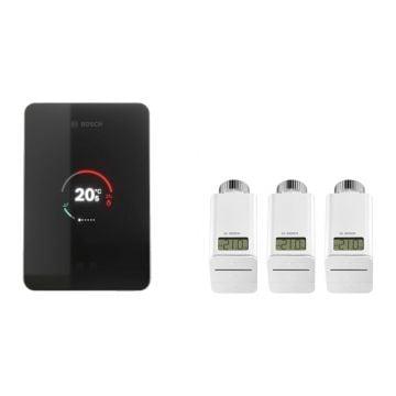 Bosch EasyControl set m. 1x Single slimme kamerthermostaat en 3x Smart radiatorthermostaatkop zwart