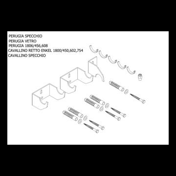 Plieger bevestigingsset designradiator enkel Cavallino Retto breedte 450/602/754mm-perugia wit (RAL9016)