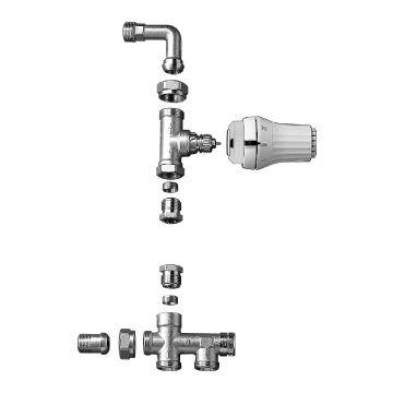 Danfoss RA-K radiatoraansluitcombinatie vloer