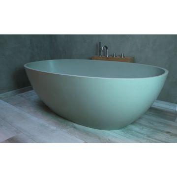 Luca Sanitair Luva vrijstaand bad van solid surface inclusief afvoerset chroom 180 x 80 x 60 cm, camoscio