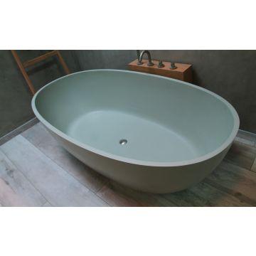Luca Sanitair Luva vrijstaand bad van solid surface inclusief afvoerset chroom 180 x 93 x 56 cm, camoscio