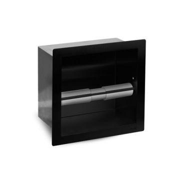 Looox Closed toiletrolhouder vierkant mat zwart, mat zwart