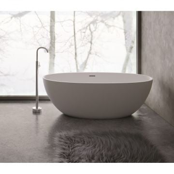 Sub 192 bad vrijstaand 180x80cm met pop up mat zwart, mat zwart