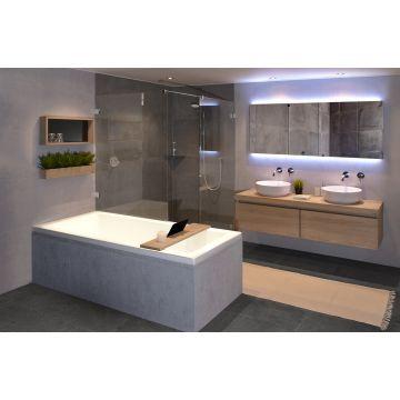 Looox Wood collection bath shelf 88 cm. m/houder mat zwart eik-mat zwart, eiken mat zwart
