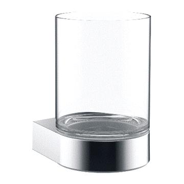 Emco Flow glashouder, met glas, 10,7 x 7 x 9 cm, chroom
