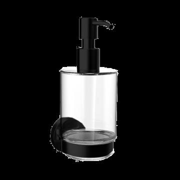 Emco Round zeepdispenser met kristalglas, zwart