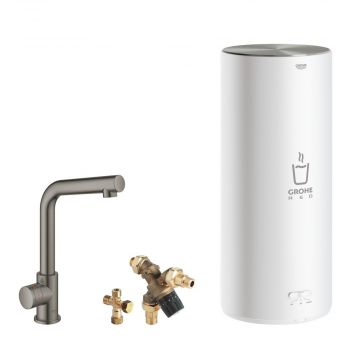 GROHE Red Mono kokendwaterkraan L-uitloop & 7 liter combi boiler, energielabel A, kinderbeveiliging, hard graphite geborsteld